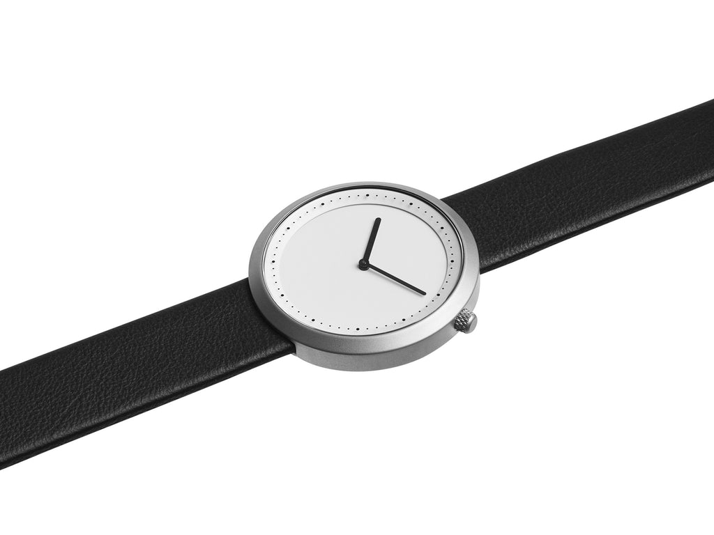 Bulbul Facette Matte Steel on Black Italian Leather Watch