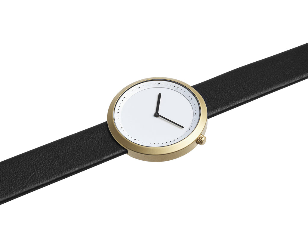 Bulbul Facette Golden Steel on Black Italian Leather Watch