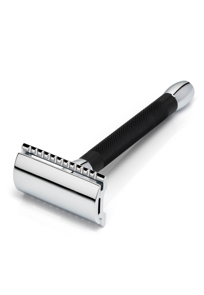 Merkur Safety Razor Bicolour Alu Black Straight Cut, Long Handle