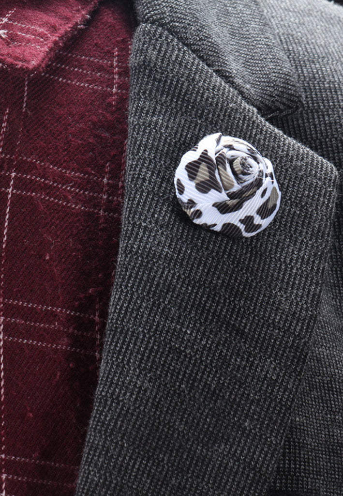 White & Black Leopard Prints Fabric Rose Groom Lapel Pin