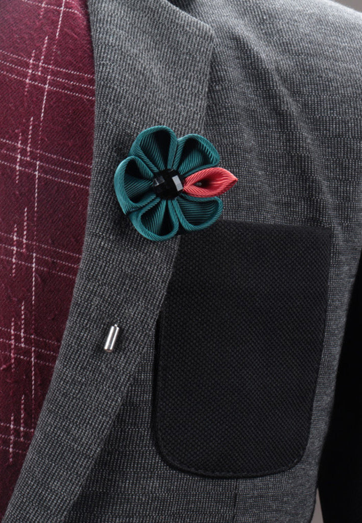 Turquoise Fabric Flower Lapel Pin