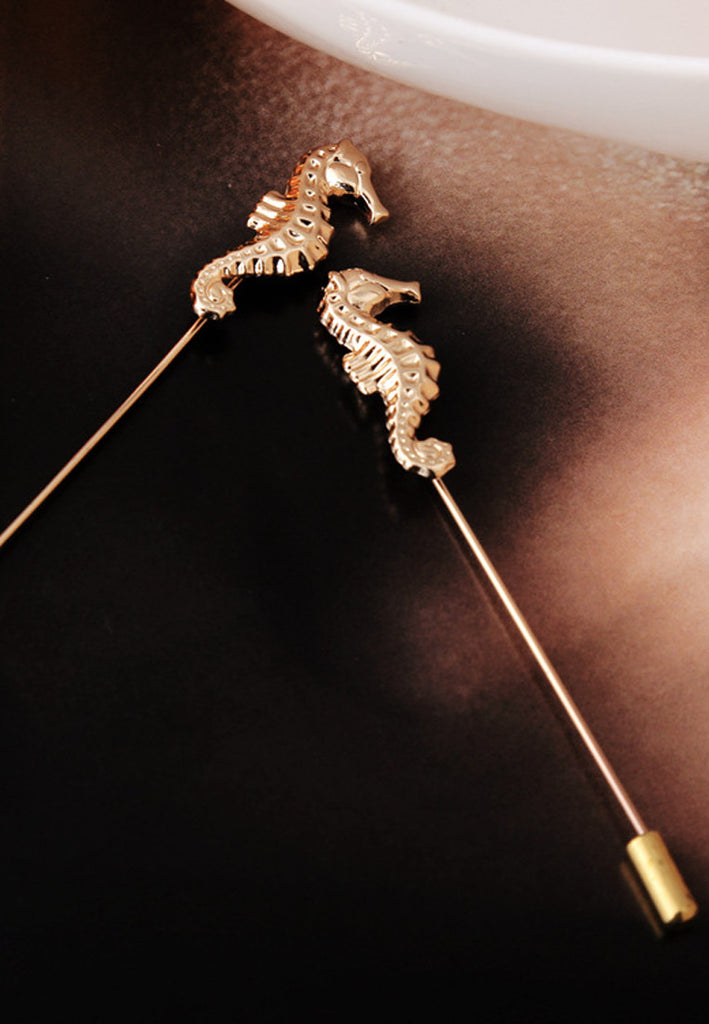 Gold Sea Horse Lapel Pin