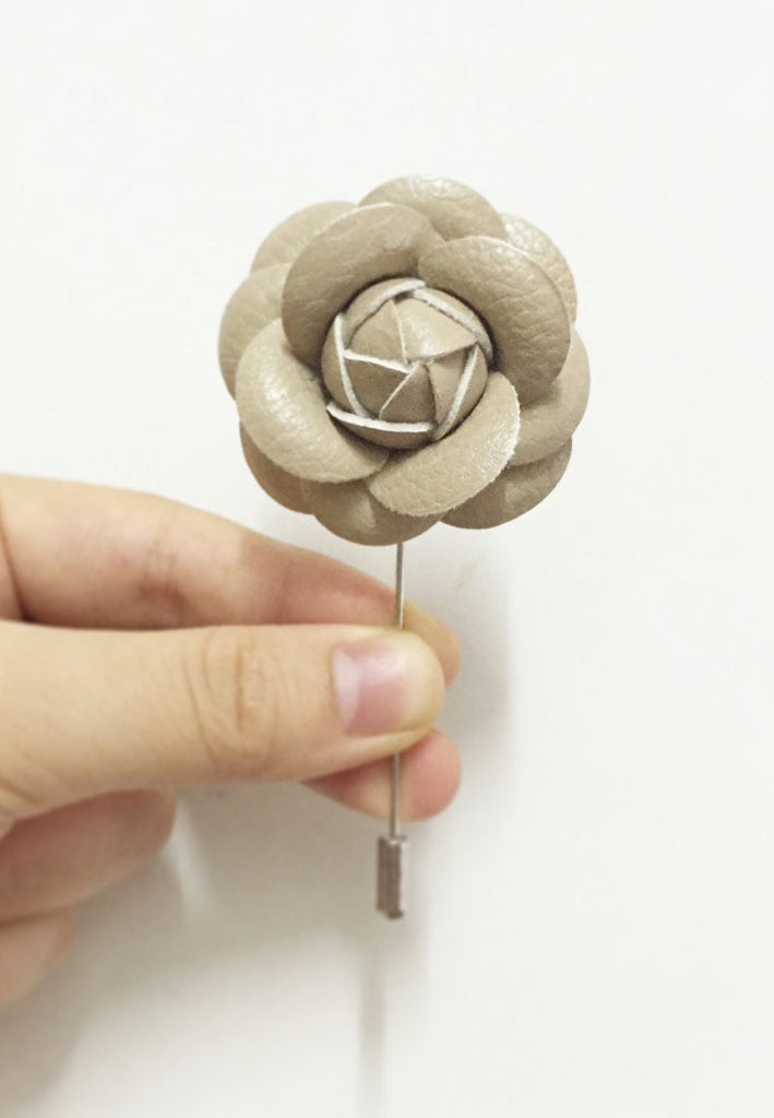 Beige PU Leather Camellia Flower Lapel Pin
