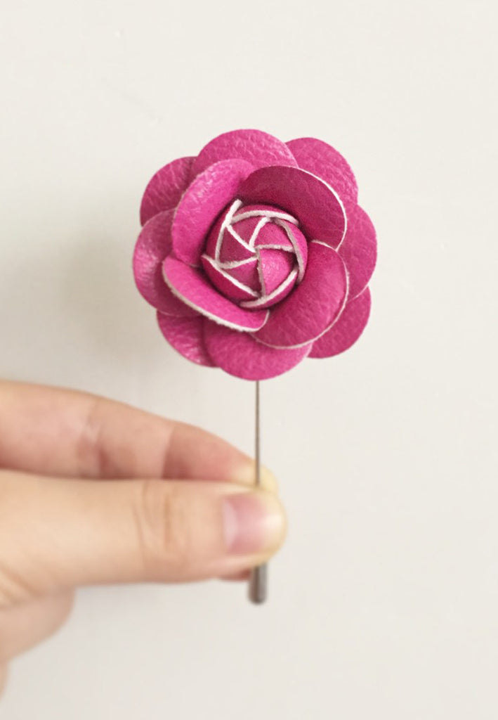Pink PU Leather Camellia Flower Lapel Pin