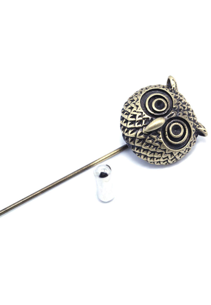 Brass Owl Lapel Pin
