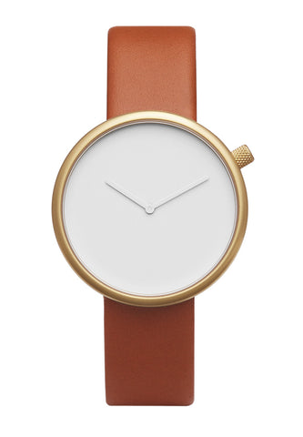 Bulbul Ore Matte Golden Steel on Brown Italian Leather Watch
