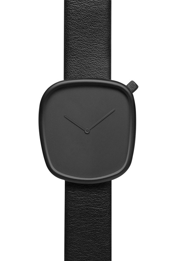 Bulbul Pebble Black Steel on Black Italian Leather Watch