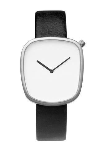 Bulbul Pebble Matte Steel on Black Italian Leather Watch