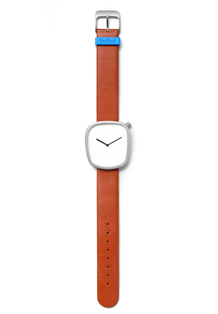 Bulbul Pebble Matte Steel on Brown Italian Leather Watch