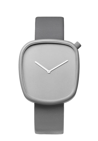 Bulbul Pebble Stone Grey Titanium Coated Steel on Grey Italian Leather Watch