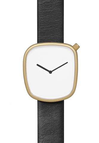 Bulbul Pebble Matte Golden Steel on Black Italian Leather Watch