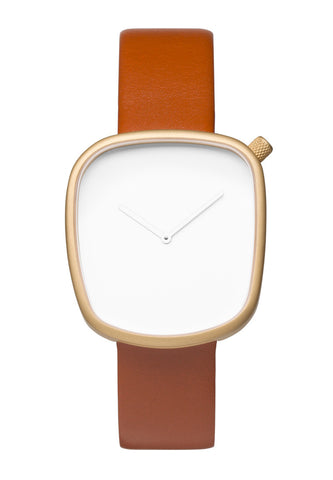Bulbul Pebble Matte Golden Steel on Brown Italian Leather Watch