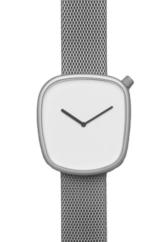 Bulbul Pebble Matte Steel on German Made Milanese Mesh Band Watch