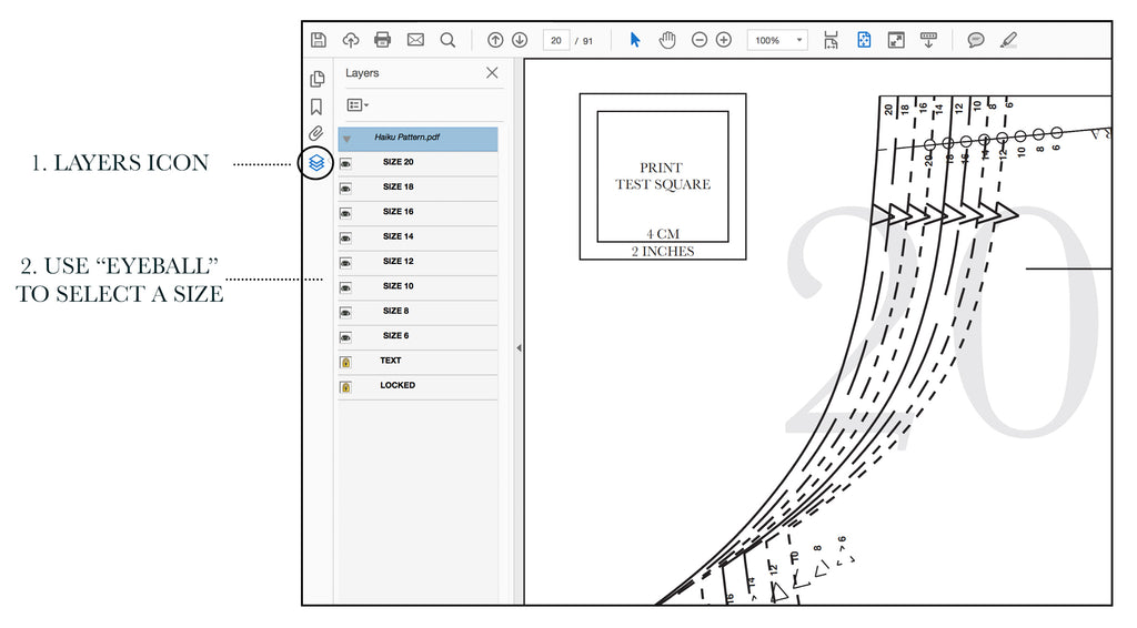 using the layers feature of modern PDF sewing patterns