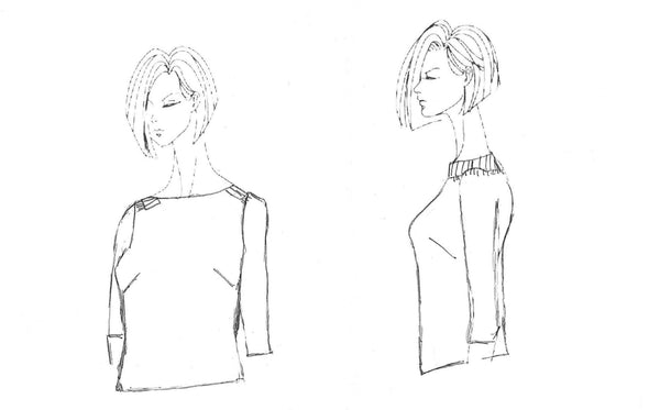 original pattern sketch for Everyday Blouse by House of Pinheiro
