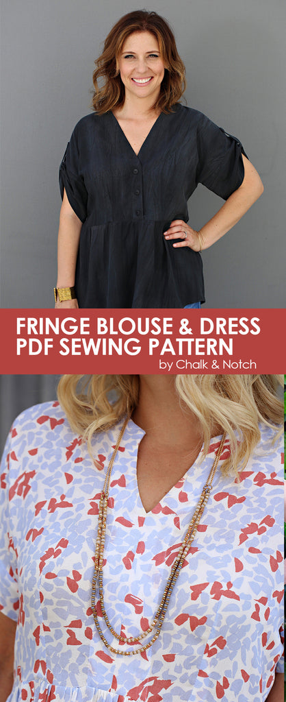 Fringe Blouse and Dress PDF sewing pattern for women. Designed by Chalk and Notch. Available on UpCraft Club