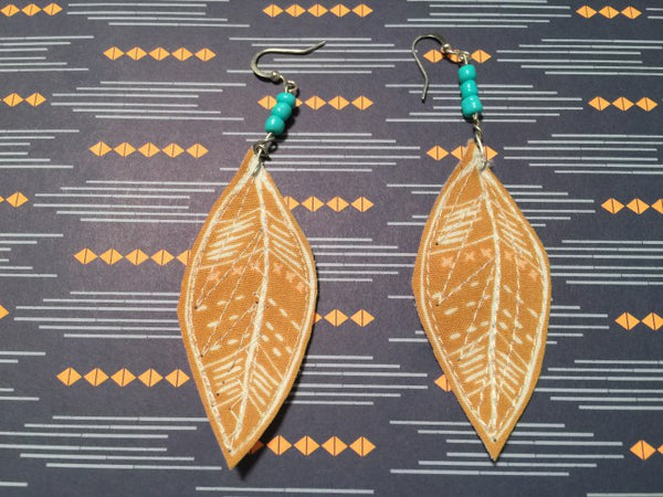 DIY stitched feather earrngs