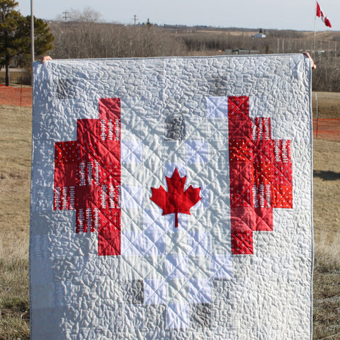Canadian Flag Pixel Heart Quilt Patterns