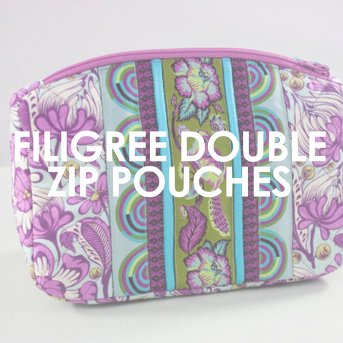 Filigree Double-Zip Pouches