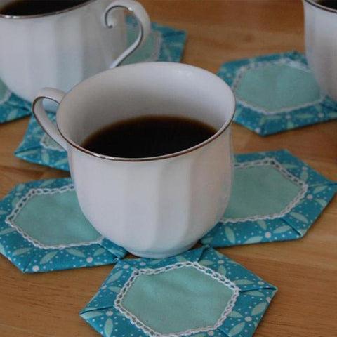 Frosted Hexagon Table topper and coasters