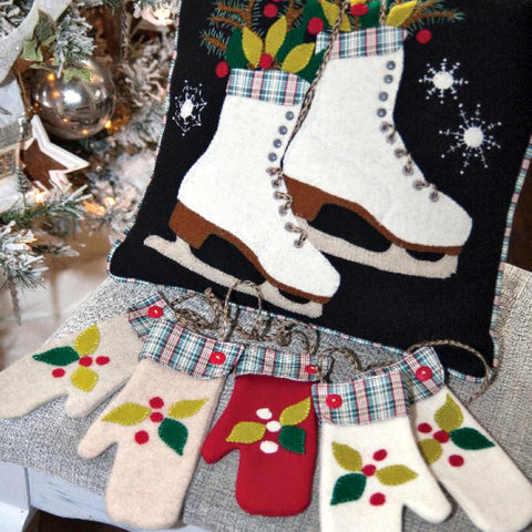 Warm Woolen Winter Skating Pillow and Mittens Decor