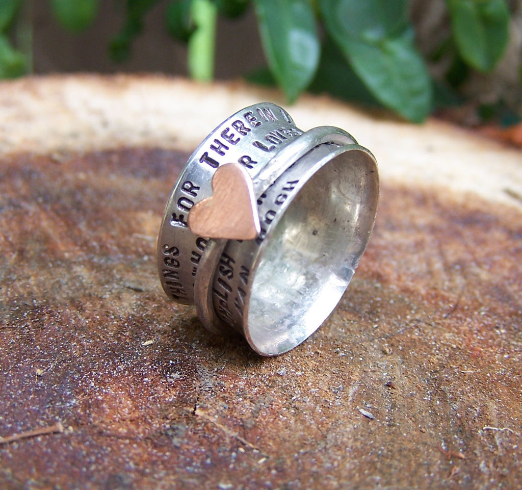 Hand Stamped Sterling and Copper Spinner Ring