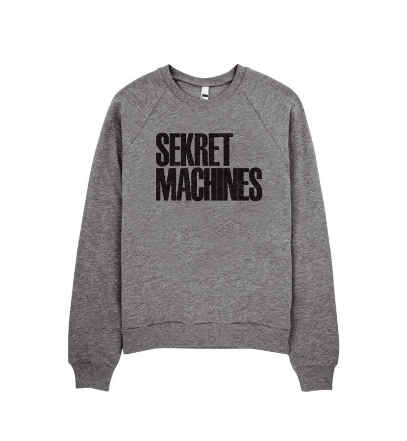 Sekret Machines Block Letter Logo Unisex Fleece Raglan Sweatshirt Grey - To The Stars...