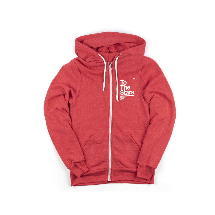 Box Zip-Up Hoodie Red