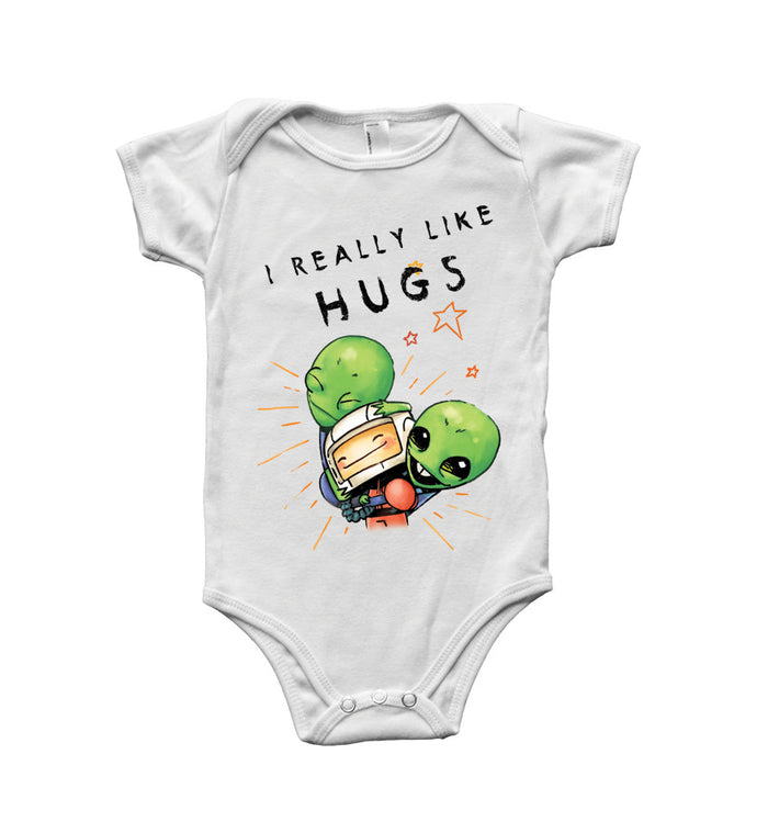 The Lonely Astronaut I Really Like Hugs Onesie White - To The Stars