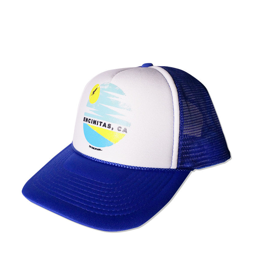 Encinitas Nostalgia Trucker Hat Blue/White