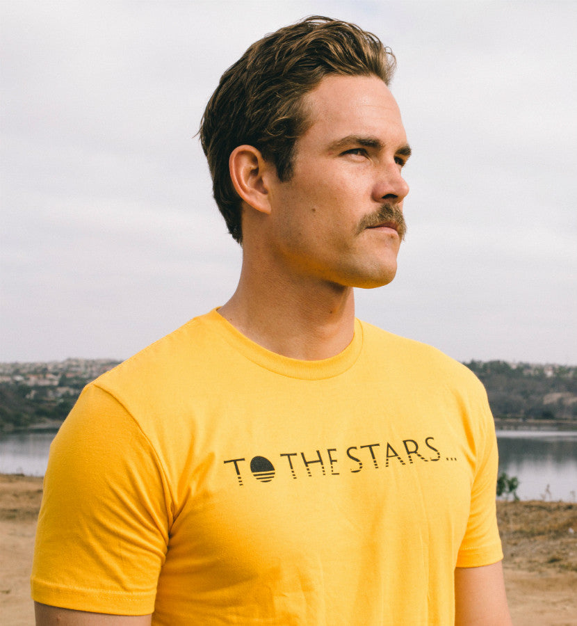 To The Stars... Text Logo T-Shirt Gold - Model - To The Stars...