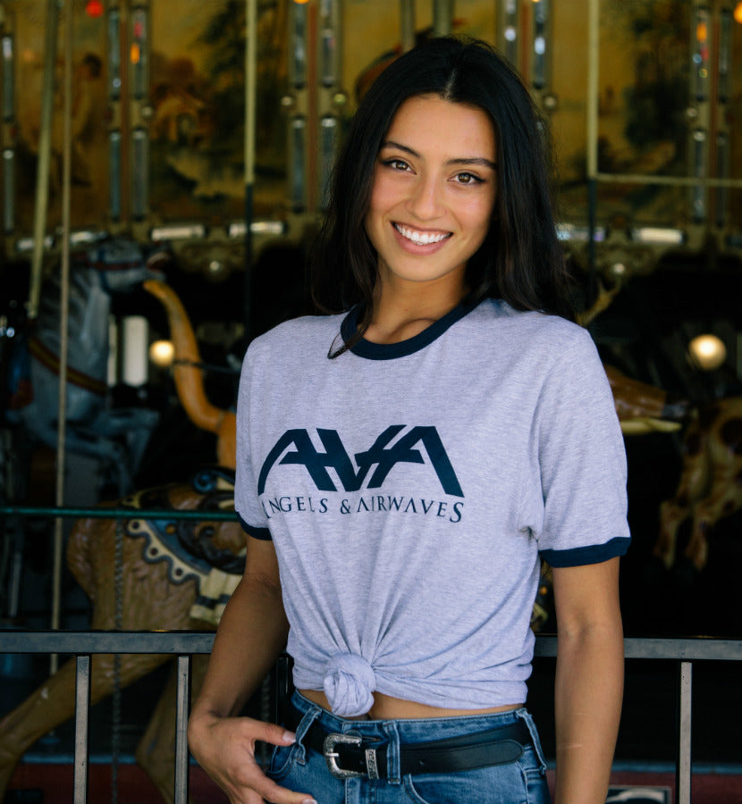 Angels and Airwaves Band Logo Ringer T-Shirt Heather Grey/Navy - lifestyle - To The Stars...