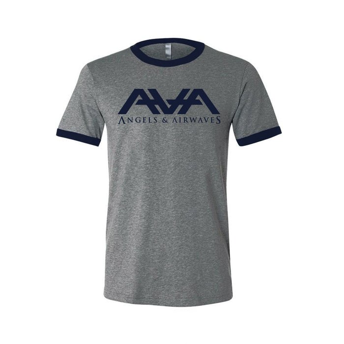 Angels and Airwaves Band Logo Ringer T-Shirt Heather Grey/Navy - To The Stars...