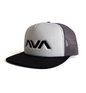 Clean Logo Embroidered Trucker Hat White/Grey/Black