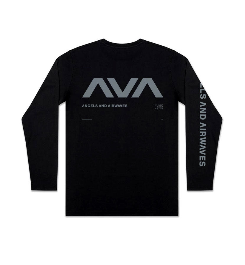 Angels and Airwaves Data L/S T-Shirt Black/Grey Front - To The Stars...