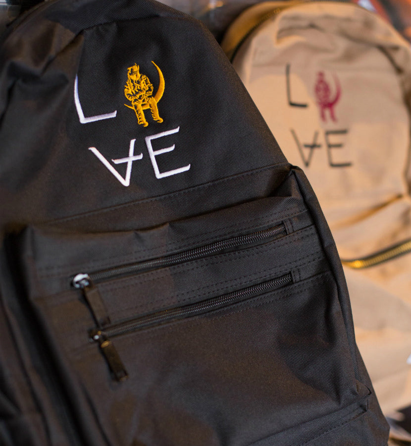 Love Stacked Black Backpack