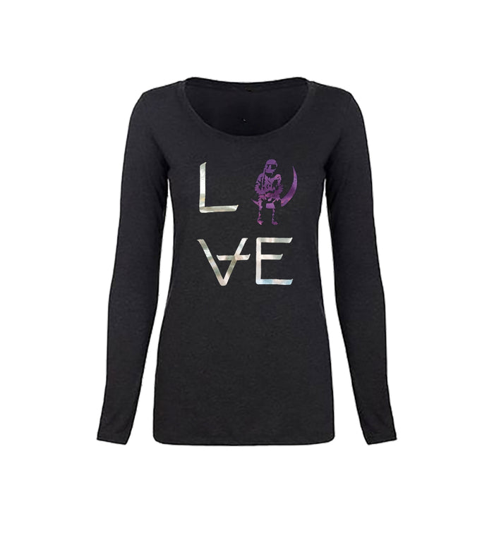 Angels and Airwaves Love Stacked Foil Women's L/S T-Shirt Vintage Black/Silver/Purple - To The Stars...