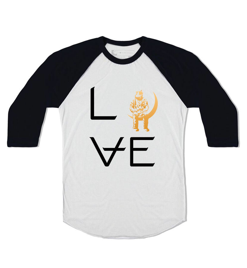 Angels and Airwaves Love Stacked Unisex Raglan White/Black - To The Stars...