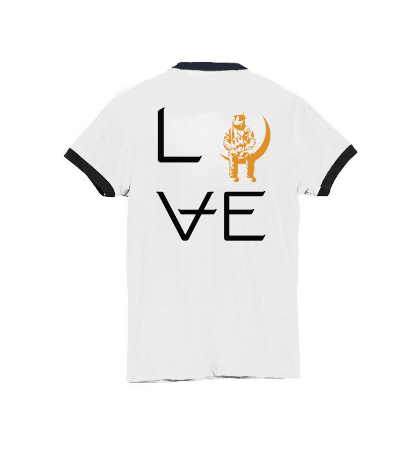 Angels and Airwaves Love Stacked Women's Ringer T-Shirt White/Black Front - To The Stars...