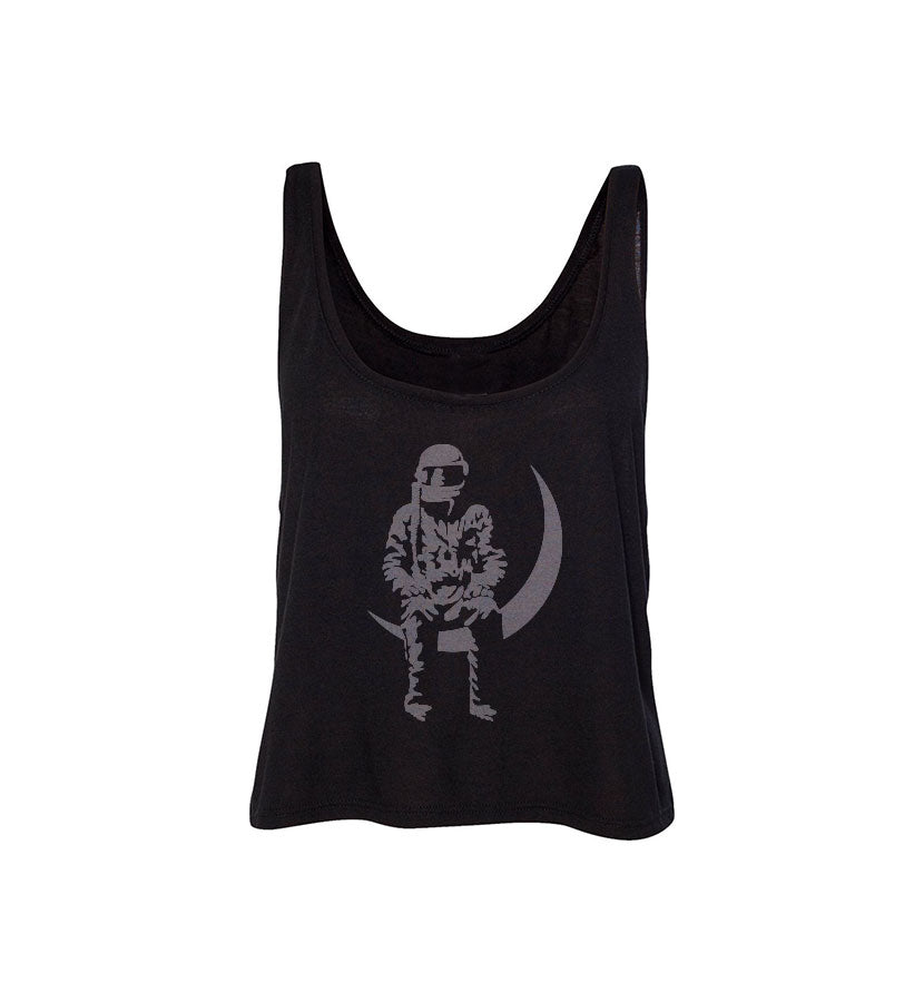 Moon Man Flowy Boxy Tank Black/Light Grey