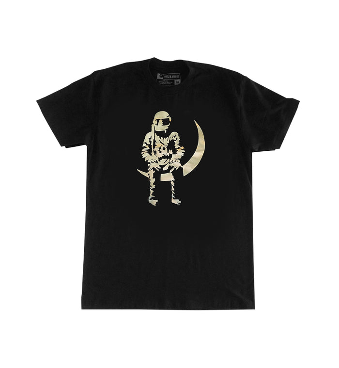 Angels and Airwaves Moon Man Foil T-Shirt Black/Gold - To The Stars...