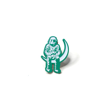 Moon Man Lapel Pin Teal/White