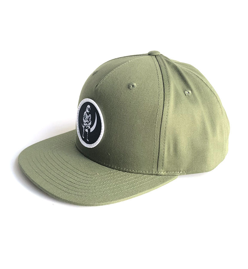 Moon Man Patch Snapback Hat Army