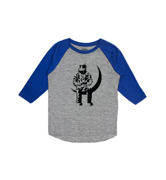 Angels and Airwaves Moon Man Toddler Raglan Heather Grey/Royal - To The Stars...