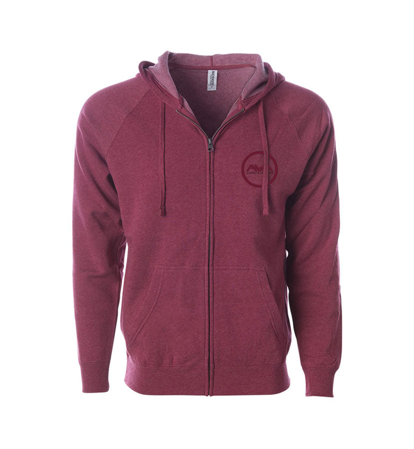 Angels and Airwaves Moon Man Unisex Zip-Up Hoodie Crimson Heather Front - To The Stars...