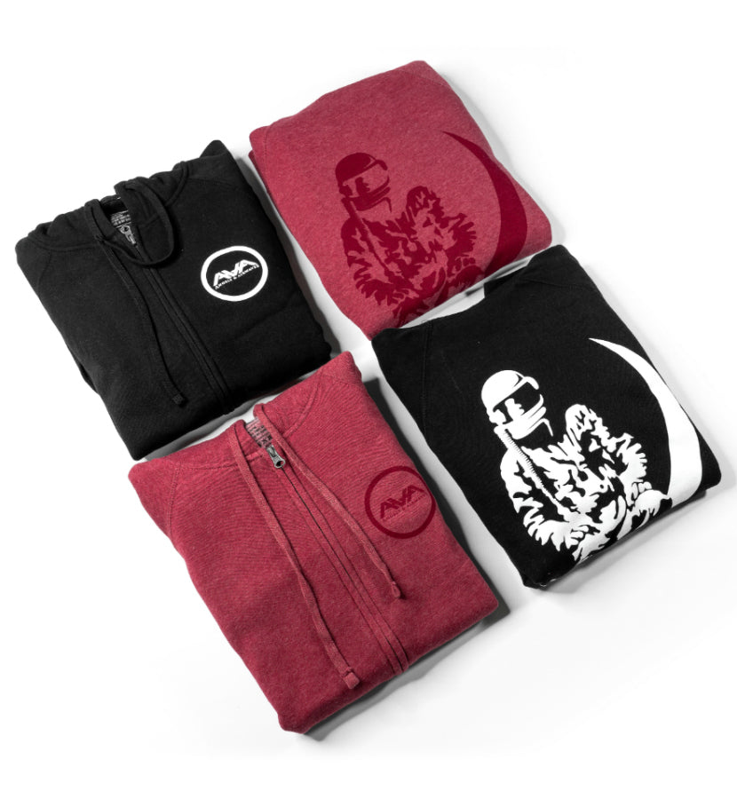 Moon Man Unisex Zip-Up Hoodie Crimson Heather