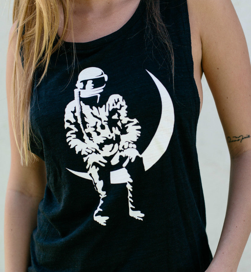 Angels and Airwaves Moon Man Women's Muscle Tank Black - Lifestyle Up Close - To The Stars...