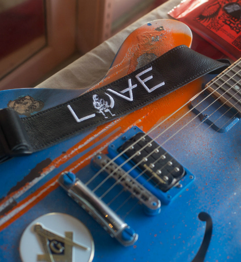 Angels and Airwaves x Ernie Ball LOVE Black Leather Guitar Strap - lifestyle - To The Stars...
