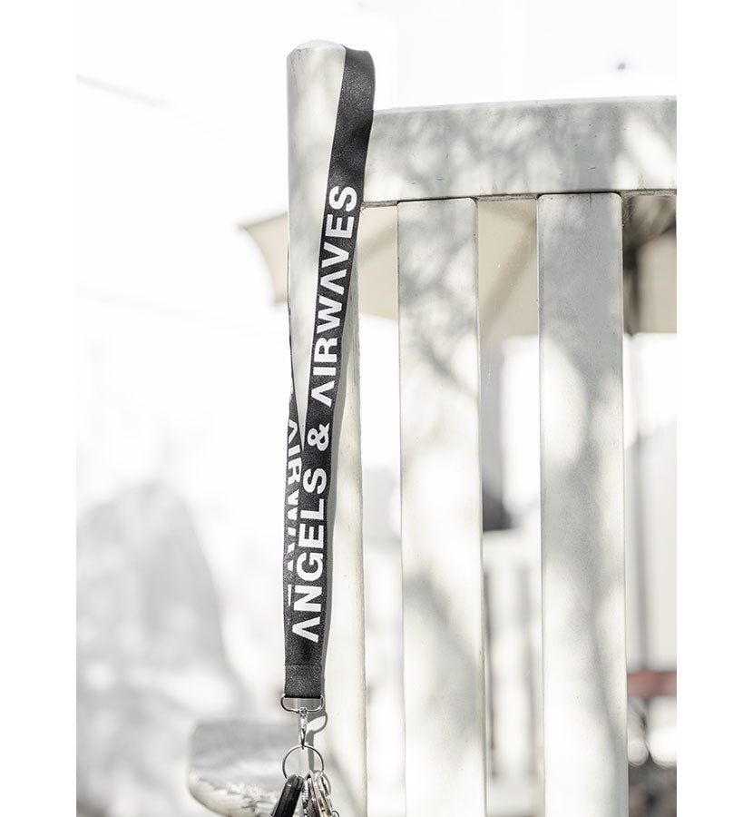 Block Text Lanyard Black/White