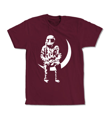 Moon Man T-Shirt Maroon/White